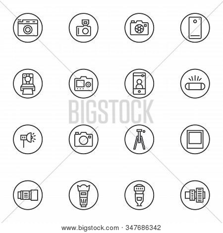 Photographic Equipment Line Icons Set. Linear Style Symbols Collection, Photo Camera Outline Signs P