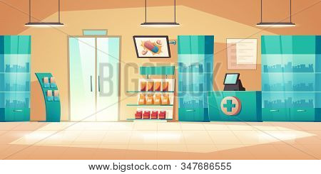 Pharmacy Interior, Modern Drugstore With Counter, Medical Products And Vitamin On Shelves. Vector Ca