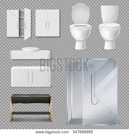 Furniture For Bathroom Interior. Vector Realistic Glass Shower Cabin, Toilet Bowl With Open And Clos