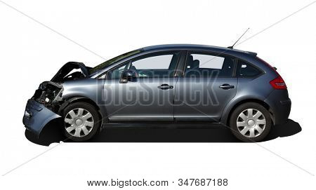 Front of car get damaged by accident isolated on white background.