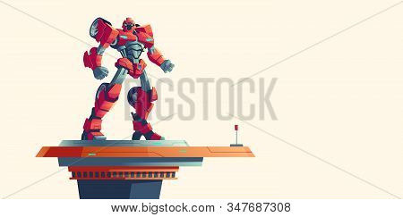 Red Robot Transformer Standing On Spaceship Top Isolated Background, Cartoon Vector Illustration. Po