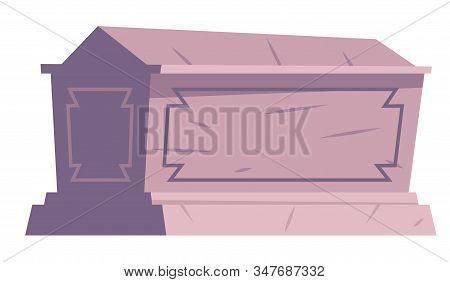Cemetery Symbol, Stone Tomb Or Sarcophagus, Cartoon Vector. Stone Sarcophagus Or Coffin, Halloween I