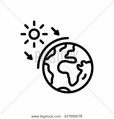 Black Line Icon For Ozone World Layer Earth Geography Global Atmosphere Surface Sun Global-warming P