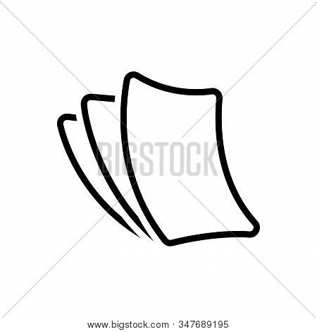 Black Line Icon For Paperless Cardboard Disposable Insubstantial Paper-thin Papery Wafer-thin