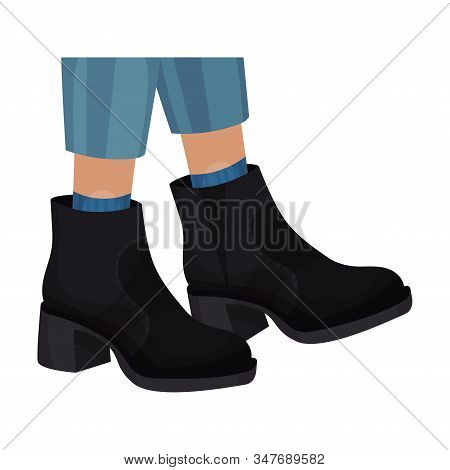 Low Shoes Or Boots With Thick Sole And Heels For Autumn Or Spring Season Vector Illustration