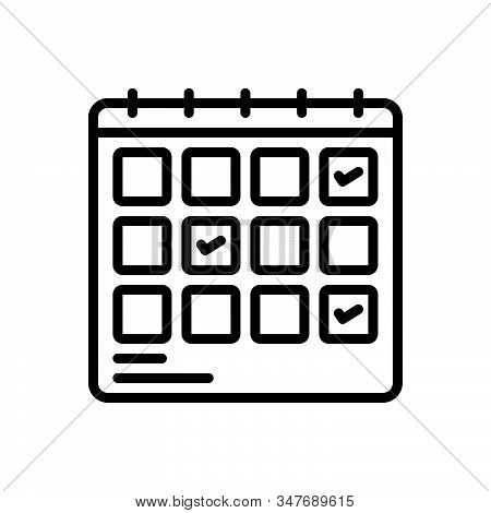 Black Line Icon For Schedule-planning Planification Project Progress Planning Schedule