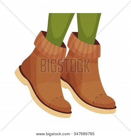 Ankle Shoes Or Boots With Thick Sole For Autumn Or Spring Season Vector Illustration