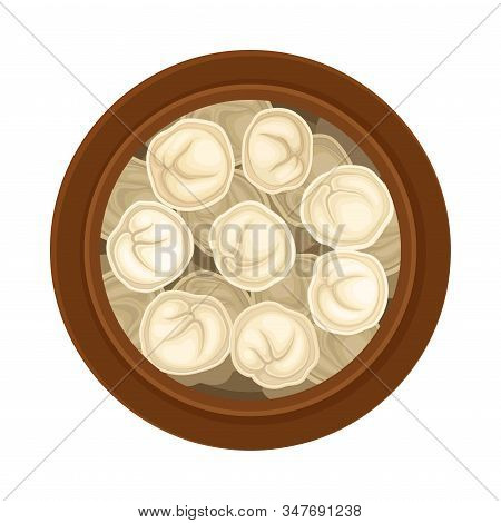 Stuffed Dumplings Floating In Pot With Bouillon Top View Vector Illustration
