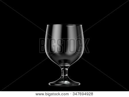 An Empty Snifter Shaped Beer Glass An Isolated Dark Background - 3d Renders
