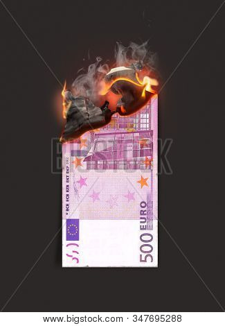 A concept image showing a half burnt flat euro paper note still on fire on a dark studio background - 3D render poster