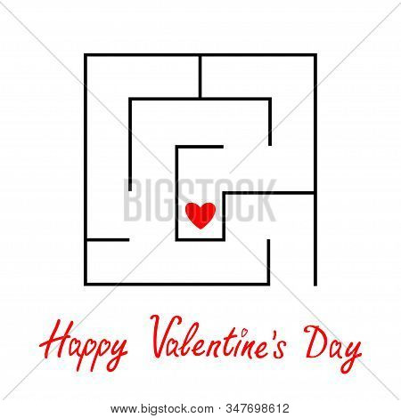 Happy Valentines Day. Labyrinth Maze. Red Heart Sign Symbol. Find Your Love Concept. Intricacy. Flat