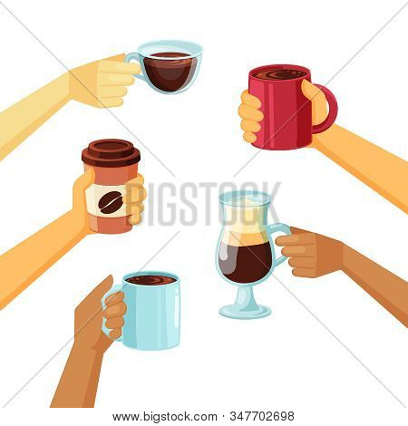 Coffee Mugs In Hands Vector Collection In Cartoon Style