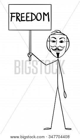 Cartoon Stick Figure Drawing Conceptual Illustration Of Man In Guy Fawkes Mask Holding Freedom Sign.