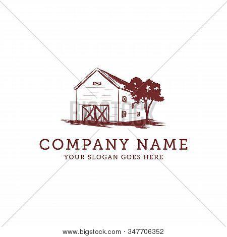 Barn Vintage Farm Logo Idea, Warehouse Farm Logo Design Vector