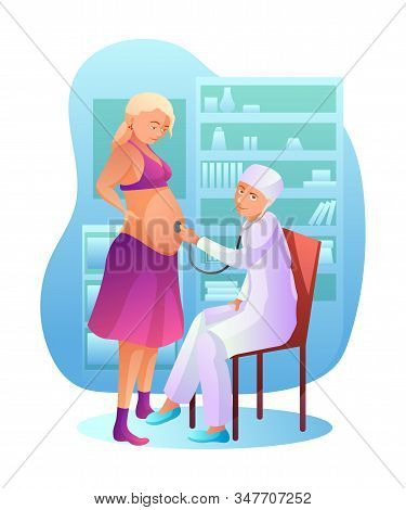 Pregnancy Check Up Flat Vector Illustration. Doctor Checking With Stethoscope Pregnant Woman Cartoon