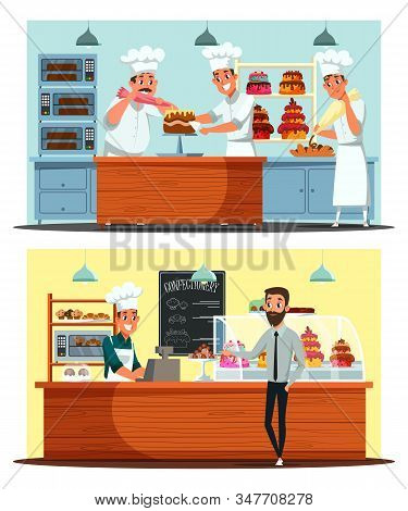 Confectionery, Candy Shop Vector Illustration Set. Store Customer, Salesman And Cooks Team Cartoon C