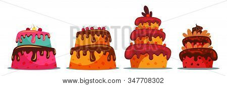 Set Of Delicious Two And Three Tier Cake Vector Illustration. Sweet Multi Layered Dainty With Creamy