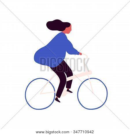 Carefree Cartoon Woman Bicyclist With Waving Hair Vector Flat Illustration. Active Female Enjoy Heal