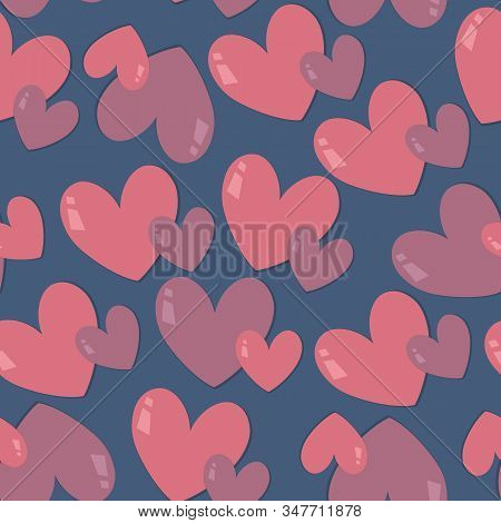 Pink Hearts On Blue Background. Seamless Vector Pastel Pattern Design For T-shirt, Bedclothes Or Und