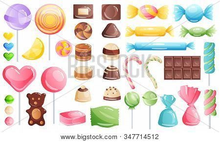 Set Of Sweets On White Background - Hard Candy, Chocolate And Bar, Candy Cane, Lollipop, Candy On St