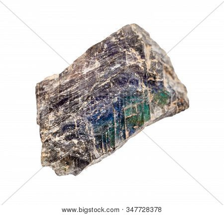 Closeup Of Sample Of Natural Mineral From Geological Collection - Raw Labradorite Stone Isolated On