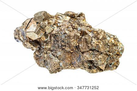 Druse Of Pyrite Crystals Isolated On White