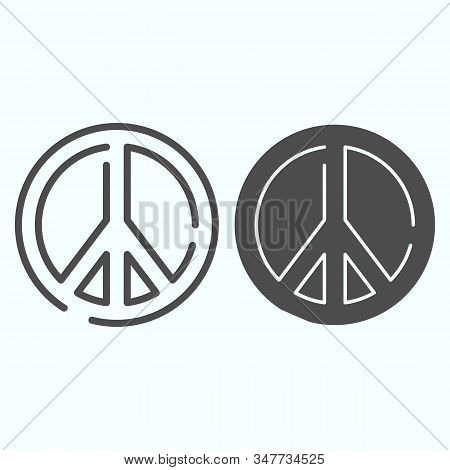 Pacifism Line And Solid Icon. Peace Symbol Vector Illustration Isolated On White. Sign Pacifist Outl