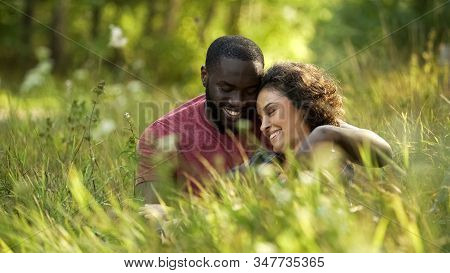Joyful Husband And Thrilled Wife Spending Free Time In Local Park, Married Life