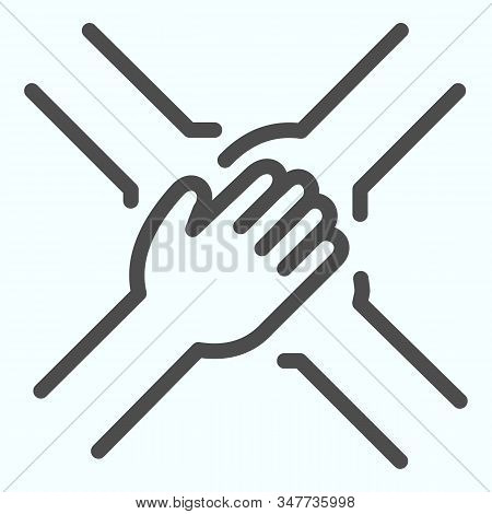 Team Arms Line Icon. Teamwork Vector Illustration Isolated On White. Four Hands Support Each Other O