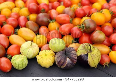 Colorful Tomatoes  And Tomatillo On Wooden Board.