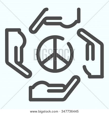 Hands Around Peace Symbol Line Icon. Peace Symbol In Center Of Four Hands Vector Illustration Isolat