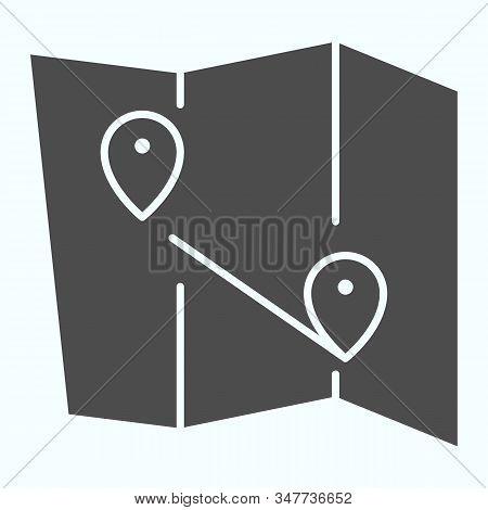 Map Solid Icon. Atlas With Two Pointers Vector Illustration Isolated On White. World Map With Marks