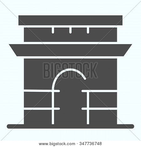 Triumphal Arch Solid Icon. French Arch Of Triumph Vector Illustration Isolated On White. Triumphal A