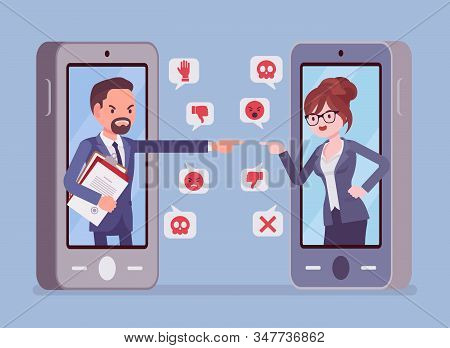 Cyberbullying, Business People Smartphone Bullying, Harmful Gadget Harassment. Hating, Drama, Or Tro