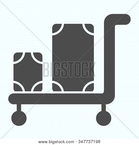 Luggage Trolley Solid Icon. Baggage On A Tray Vector Illustration Isolated On White. Trolley Baggage