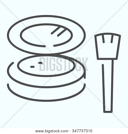 Cosmetic Makeup Powder And Brush Thin Line Icon. Female Powder And Brush Vector Illustration Isolate