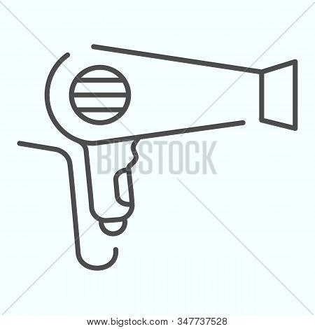 Hair Dryer Thin Line Icon. An Electrical Device For Drying Hair Vector Illustration Isolated On Whit