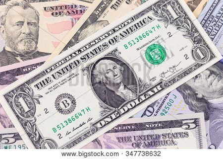 Business background, one dollar bill on american banknotes