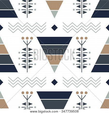 Modern Vector Abstract Seamless Pattern. Dark Blue And Grey Triangular Elements. Geometric Lines Art