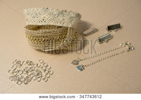 Luxury Silver And Golden  Gentle Hand Made Decorations Skin And Beige Color Concept Fashion Producti