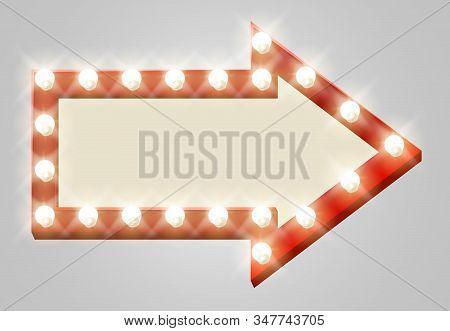 A Light Up Theatre Red Arrow Sign Design Element