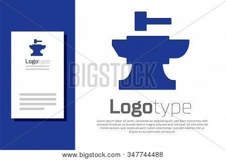 Blue Anvil For Blacksmithing And Hammer Icon Isolated On White Background. Metal Forging. Forge Tool