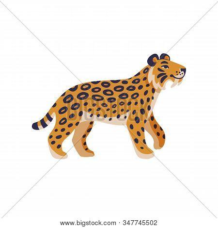 Extinct Animals. Saber-tooth Cat. Prehistoric Extinct American Tiger. Flat Style Vector Illustration