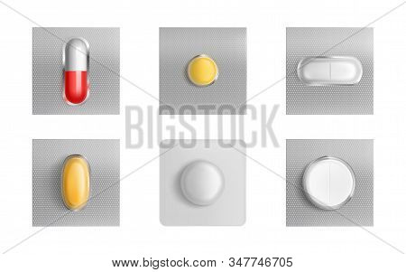 Pills Blister Pack Set, Medicine Tablets And Color Capsules Mock Up Isolated On White Background. Pa