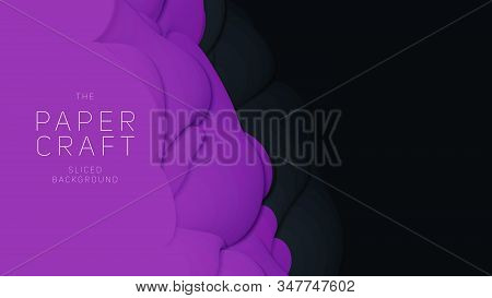 Vector 3d Abstract Background With Paper Cut Shape. Black And Violet Carving Art. Paper Craft Antelo