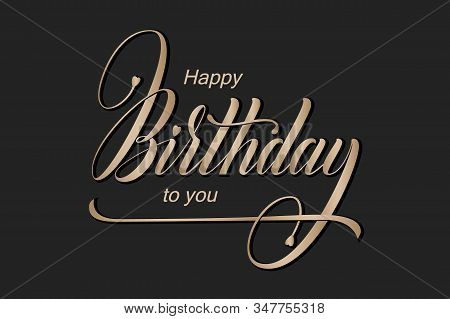 Elegant Vector Happy Birthday Card. Vector Congratulation Card With Beautiful Typography. Minimalist