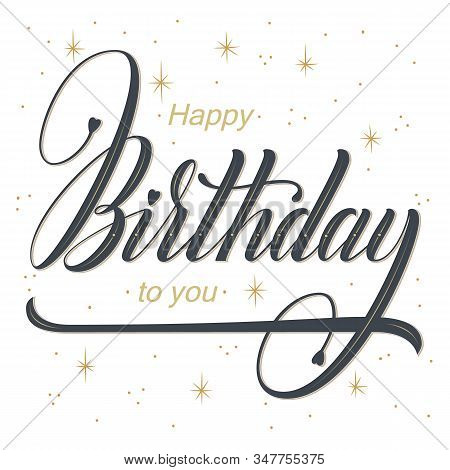 Elegant Vector Happy Birthday Card. Vector Congratulation Card With Starry Background, Frame And Bea