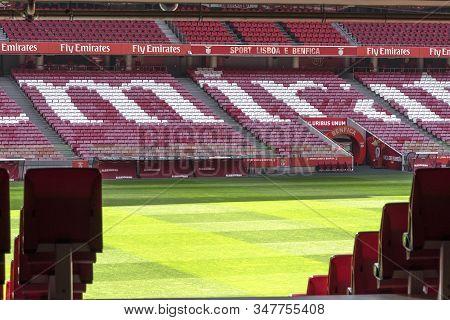 Lisboa, Portugal - April 2018: Tribunes Fragment At Estadio Da Luz - The Official Playground Of Fc B