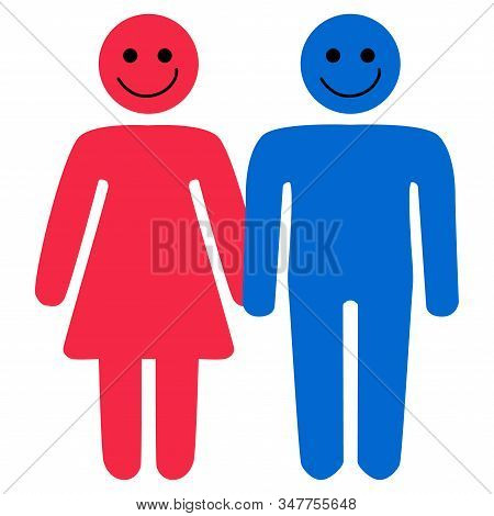 Conceptual Diagram Of A Man And Woman. Multiple Choice Illustration, Complex Relationships, Family