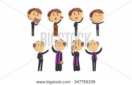 Man Priests Characters Collection, Young And Mature Catholic Preachers Blessing, Praying, Giving Spe